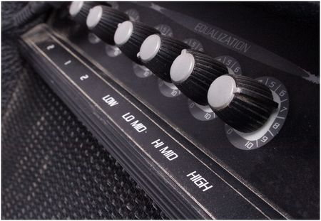 amp: knobs on a guitar amp Stock Photo