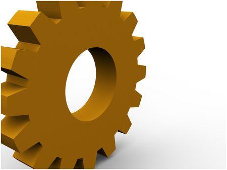 orange 3d gear concept render Stock Photo