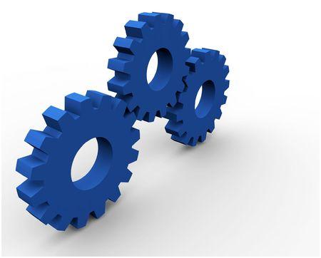 3d gear concept render (3 gears) Stock Photo