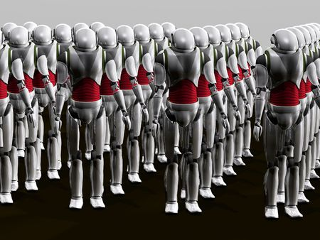 sci: a group of robots prepared for an invasion Stock Photo