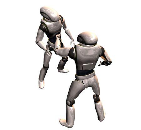 2 台のロボット コンバース 写真素材
