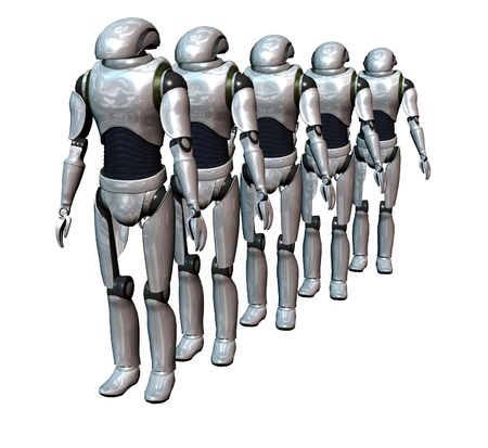 compute: a group of robots prepared for an invasion Stock Photo