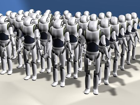 a group of robots prepared for an invasion Фото со стока