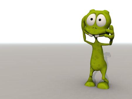 cartoon alien grasps his head in shock