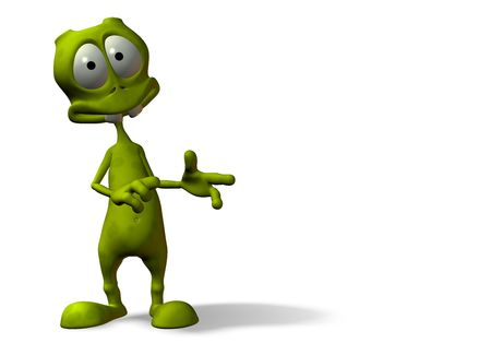 cartoon alien with surprised expression w clipping mask Reklamní fotografie