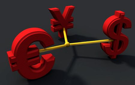 currencies exhanging and connected Фото со стока