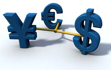currencies connected in 3d rendered abstract