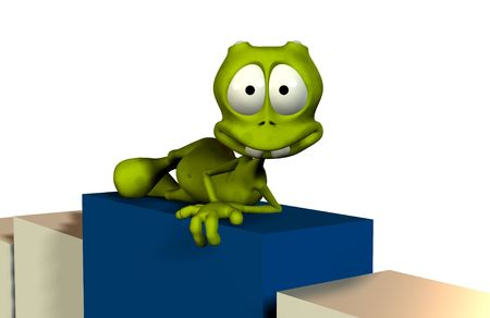 cartoon render with clipping mask above sits on podium or boxes