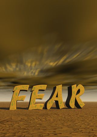 letters spell out fear with desert landscape and dark sky Stock fotó - 754436