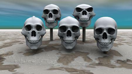 3D render van schedels gemonteerd op stokjes op een rij