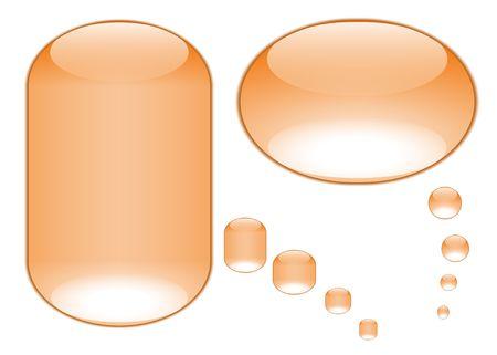 oranje tekst belletjes ontstaan uit aqua stijl knoppen Stockfoto