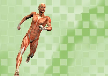 muscular male: running human male on green checkered background