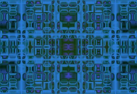 reflection of life: dark celled background with green and blue squares