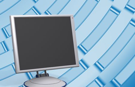 lcd: modern lcd monitor on blue metallic background