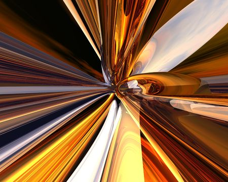 3d rendered abstract with hot colors and metallic reflections