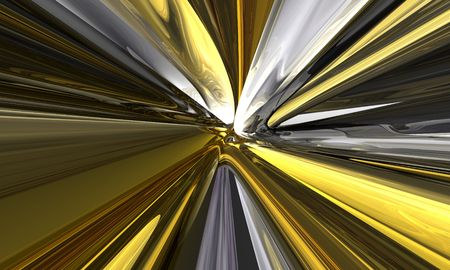 3d futuristic render with yellow warp lines