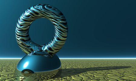 futuristic 3d render with strange ring statue