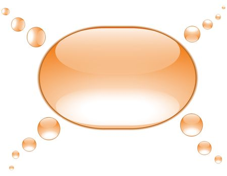 orange aquae bubbles in a group conversation arrangement, four thoughts to one conclusion