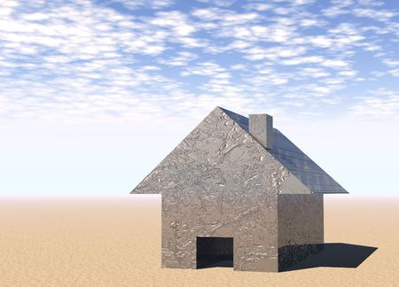 single home with silver wavy exterior 3d render