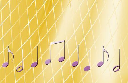 明るい黄色の背景上の音楽ノート 写真素材