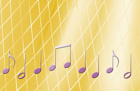 music notes over a lighted yellow background Banco de Imagens