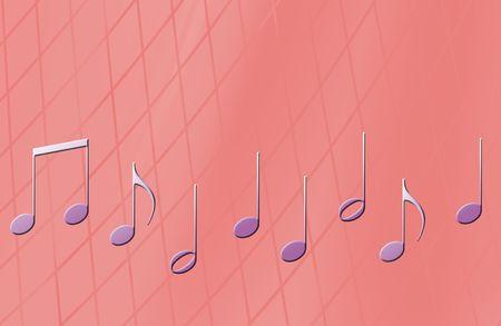 スタイリッシュなピンク色の背景上の音楽ノート