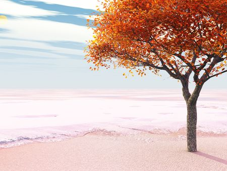 an early snow catches a tree with its leaves still on (3d render) photo