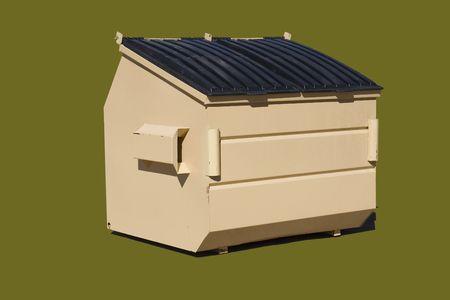 6 cubic yard trash bin isolated on a puke green color photo