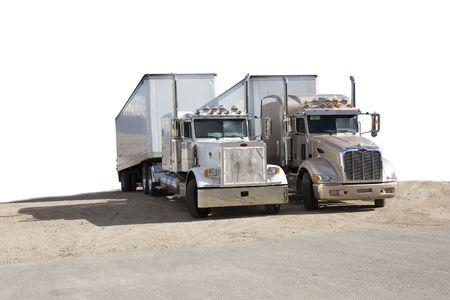 two semi trucks (semi-isolated) white background Stock Photo