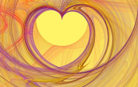 purple fractal rendered heart shape over yellow