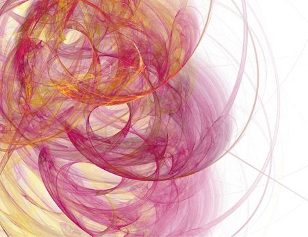 fractal render with three spiral shapes in red and purple Stok Fotoğraf