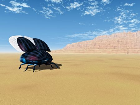 colorful beetle 3d render, alone in a desert landscape Banco de Imagens - 818821