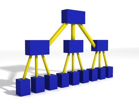 Un 3d rendant dépeindre un diagramme classique d'org pour une compagnie Banque d'images - 818825