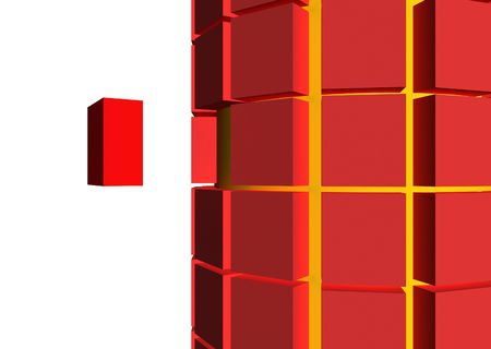 aligned: single brick break out of a grouped of aligned cubes