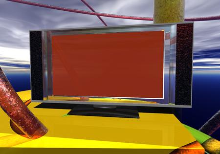 futuristic display of computer monitor Stock Photo