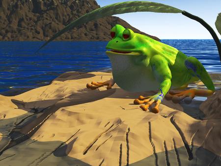 3d frog render sits under shady leaf