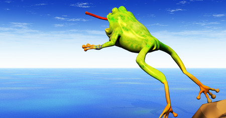 a cartoon 3d frog leaps with tongue extended Reklamní fotografie - 1405954