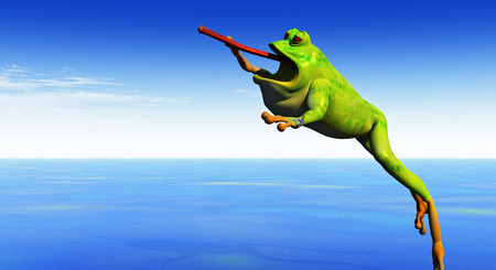 a cartoon 3d frog leaps into the air with tongue extended