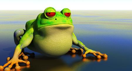 squint: 3d frog illustration on shallow reflective pond