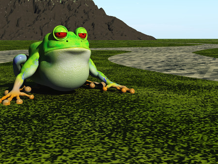 slimy: frog cartoon sits on green plain
