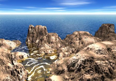 3d gesmolten rotsachtige kustlijn. Pool toont vreemde gouden kleur als iets