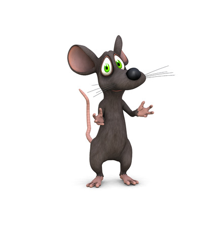 a 3d rendered mouse beckons with cute face