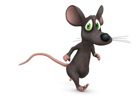 souris: une souris s'enfuit peur de quelque chose sur un fond blanc (en 3D)