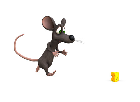 render: a mouse races towards the perfect prize, isolated background