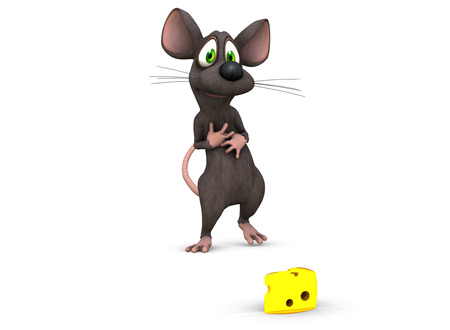 a 3d rendered mouse finds his prize and looks at it lovingly