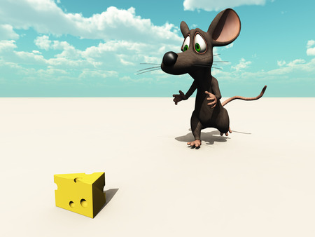 a 3d rendered mouse finds his prize (with simple horizon)