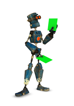 a 3d rendered robot inspects something (replace green with your own)