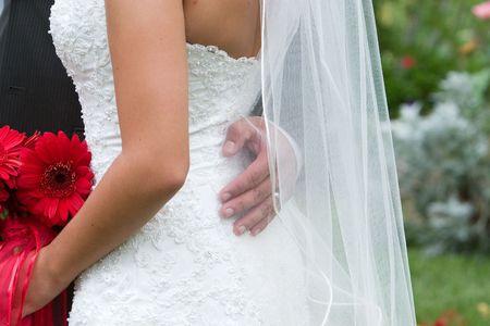 groom embraces beatiful birde (and her beautiful dress) Stock Photo - 2065653