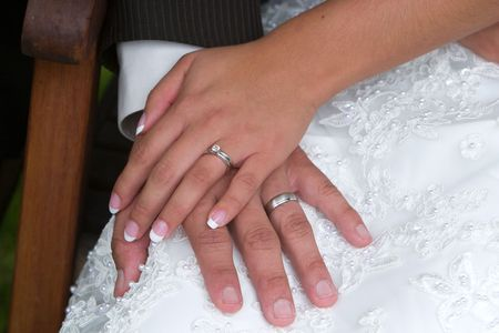 the hands of the wedding couple show off new exchanged rings Stock Photo - 2065644