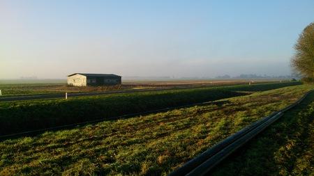 polder: Barn in a Dutch polder Stock Photo